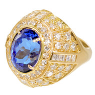 Vintage Estate 7.20ct Tanzanite Bright Blue 18k 2.61ct Diamond Ring