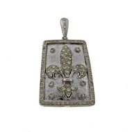 18k White Gold 1.30ct Diamond Fleurs De Lis Pendant