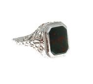 1940 Art Deco 14k White Gold Bloodstone Filigree Ring<br><br>