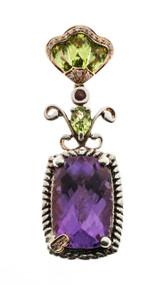 Estate Bellari 18k Pink Gold Silver Amethyst Peridot Diamond Pendant