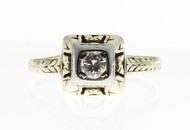 Antique Art Deco 14k yellow gold ring .16ct diamond ring. Circa 1930.