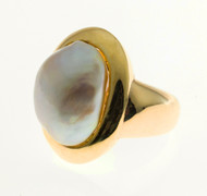 Vintage 1950-1960 Large South Sea Pearl 14k Yellow Gold Ring