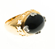 Vintage 1960 Black Onyx 14k yellow gold diamond ring<br><br>