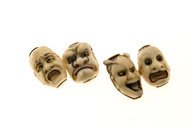 1930's 14k Four Faces Carved Bone Cuff links
