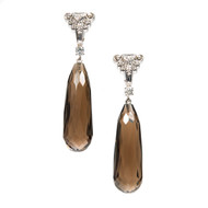 Vintage 1950 14k White Gold Diamond Dangle Earrings with .49cts Smoky Quartz Briolettes<br><br>
