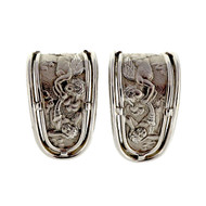 Angel Motif 18k White Gold Designer MD Clip Post Earrings