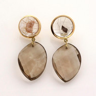Peter Suchy Rare Manifestor Smoky Quartz 66.90ct 18k Yellow Gold Dangle Earrings