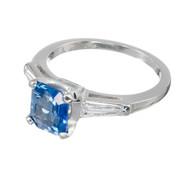 Vintage Estate 1.39ct Asscher Cut Sapphire 1940 Platinum Engagement Ring