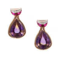 Retro Art Deco 14k Pink Gold Amethyst Citrine Synthetic Ruby Dangle Earrings