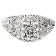 Antique Edwardian Art Deco 1.03ct Transitional Cut Platinum Diamond Ring