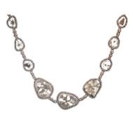 Dilamani Natural Crystal Diamond Rose Cut Pink Gold Pendant