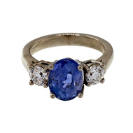 Estate Old European Cut 2.98ct Cornflower Blue Sapphire Platinum Diamond Ring