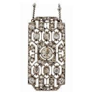 Antique Edwardian Art Deco Platinum Old European Rose Cut Diamond Pendant 1880 <br><br><ul>