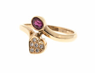 Estate 14k Yellow Gold Oval Ruby & Round Diamond Bypass Heart Shape Ring