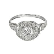 Antique Art Deco 18k White Gold .65ct Old European Cut Diamond Engagement Ring