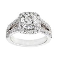 Cushion Halo 1.56ct Round Diamond Platinum Split Shank Peter Suchy Designer Ring