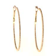 Estate 18k Pink Gold Inside Cut Oval Diamond Clip Post Hoop Earrings