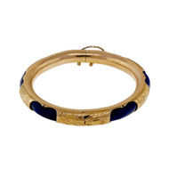 Vintage Estate 1950 Natural Fine Blue Lapis Bangle Bracelet 14k Yellow Gold