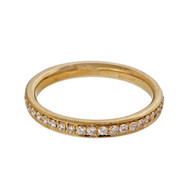 Bead Set Pave PSD 2.5mm Wide .45ct Diamond 14k Yellow Gold Band Ring