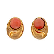 Estate Vintage 1960 12mm Orange Pink Coral Clip Earrings