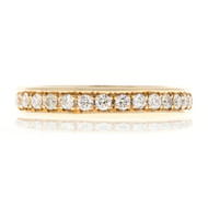 Bead Set Pave PSD 3.5mm Wide .75ct Diamond 14k Yellow Gold Wedding Band Ring