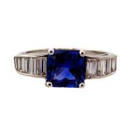 Art Deco 1940 Cornflower Blue Sapphire 1.79ct Platinum Diamond Engagement Ring