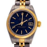 Ladies Rolex Datejust 68173 18k Yellow Gold Steel Factory Royal Blue Dial