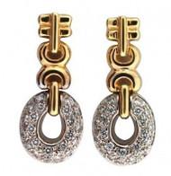 Estate Custom Made 14k 2 Tone Gold Designer Oval Pave Diamond Dangle Earrings