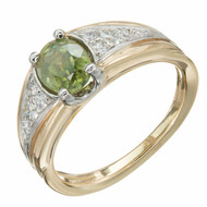 1980 1.01ct Yellowish Green Demantoid Garnet 18k Yellow Gold Platinum Ring