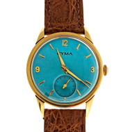 Cyma 18k 15 Jewel Iridescent Blue Manual Wind Watch