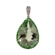 9.64ct Green Quartz 14k White Gold Pendant Green Garnet Frame