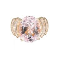 Vintage 1960 8.70ct Morganite Baguette Diamond 14k Yellow Gold Cocktail Ring
