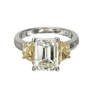 Art Deco 3.03ct Emerald Cut Diamond Yellow Side Diamond Platinum Engagement Ring