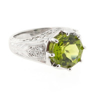 Estate European Cut Round Fine 4.25ct Peridot Filigree Platinum Diamond Ring