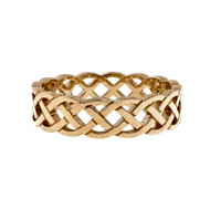 Celtic Woven Open Cut Out 6mm Wide PSD Wedding Band Ring 14k Yellow Gold