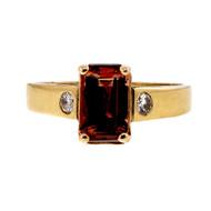 Vintage Rare 1.25ct Natural Pink Orange Labradorite Emerald Cut Ring