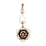 Antique 1890 14k Rose Pink Gold Black Onyx Diamond Pendant