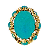 Estate 1950 Large Bright Blue Turquoise 18k Yellow Gold Dome Wire Ring
