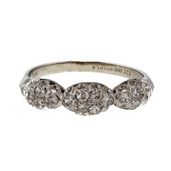 Art Deco Platinum 1940 Domed 3 Section Pave Set .27ct Diamond Wedding Band Ring