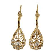 Art Deco Dangle Earrings 14k Yellow Gold Old European Diamond Single Cut 0.64ct