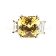 Vintage Canary Yellow 4.09ct Asscher Cut Sapphire Trapezoid Side Diamond Ring