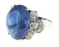 Vintage 25.00ct Sri Lanka 1920s Art Deco Natural Cabochon Sapphire Platinum Ring