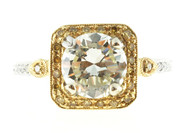 Estate Rare 2.02ct Yellow & White Diamond Pave Set 18k Yellow & White Gold Ring