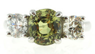 Vintage 3.14ct Green Yellow Cushion Sapphire 1.38ct European Diamond Ring