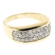 37 Pave Set Diamond 14k White & Yellow Gold Flat Top Tapered Dome Ring