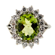 Estate 1960 – 1970 3.00ct Gem Peridot Diamond Oval Ring 14k White Gold