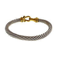 Estate David Yurman 7.5mm Silver Cable Bracelet With 14k Yellow Gold