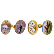 Vintage 1900 Enamel Double Sided 18k Four Vices Cuff Links