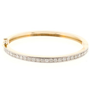 Estate Hinged bangle Bracelet Bead Set Diamonds 1.10ct 14k Yellow Gold