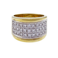 Vintage 1970 18k Gold .50ct Diamond Dome Band Ring